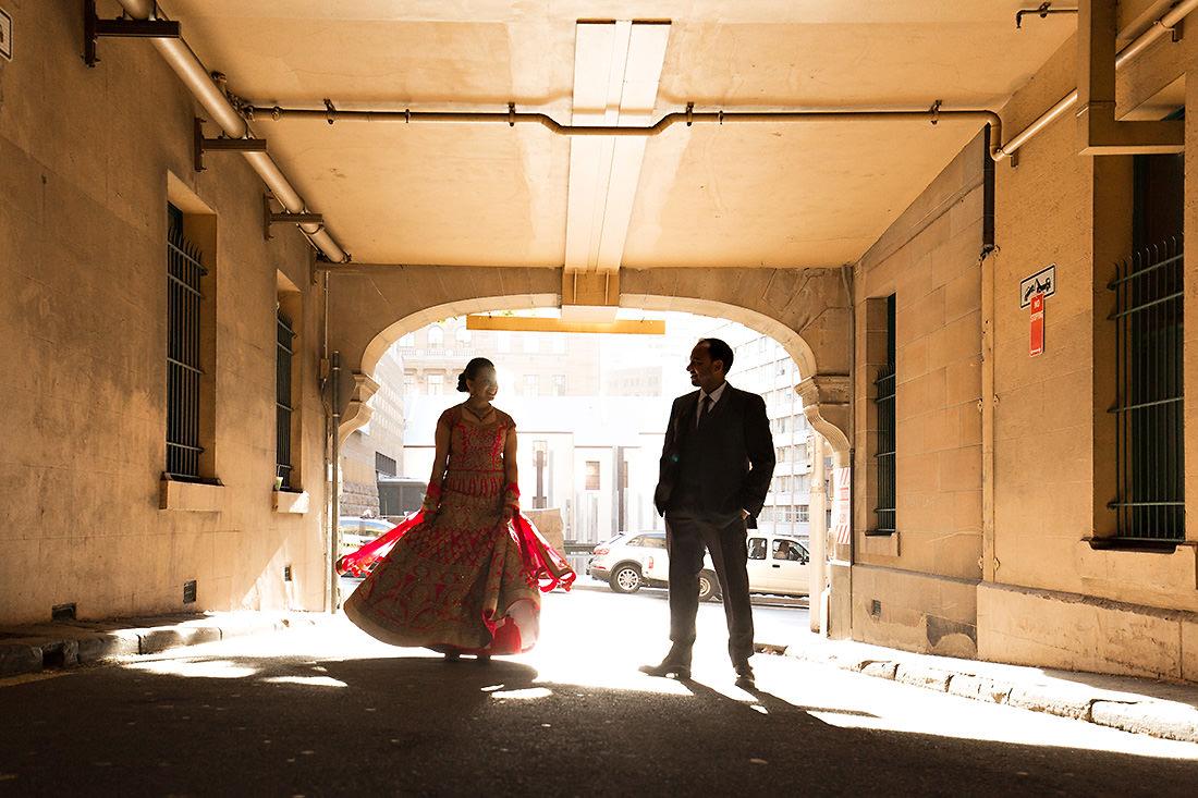 City Sydney wedding photo at sunset