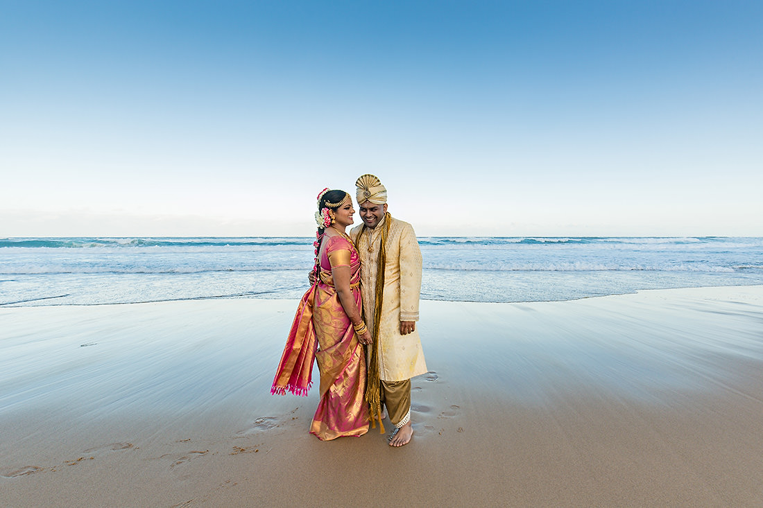 Beach Sydney wedding photo at sunset
