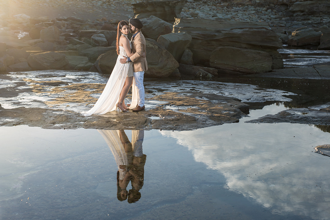 Terrigal wedding photo at sunset