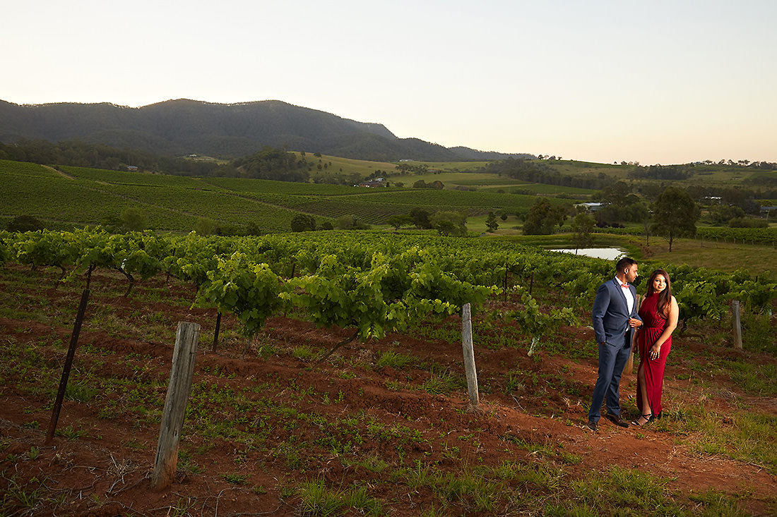 Hunter Valley wedding photo at sunset