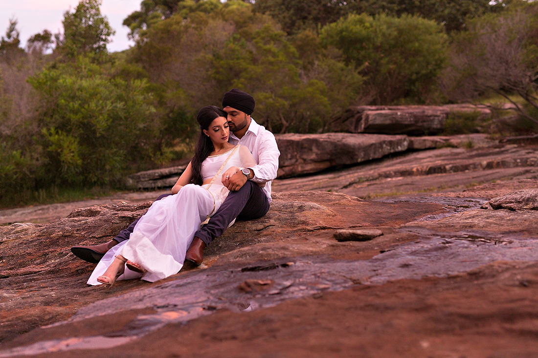 Royal National Park wedding photo at sunset