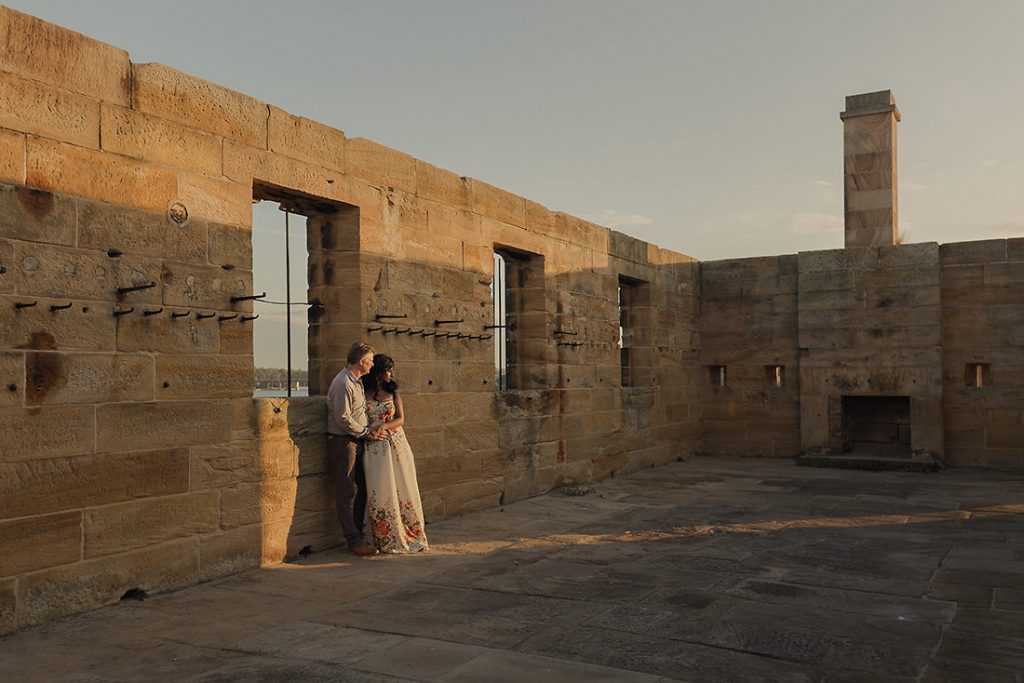 Cockatoo Island Sydney wedding photo at sunset