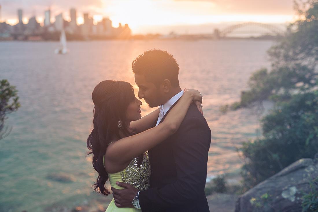 Bradley's Head wedding photo at sunset