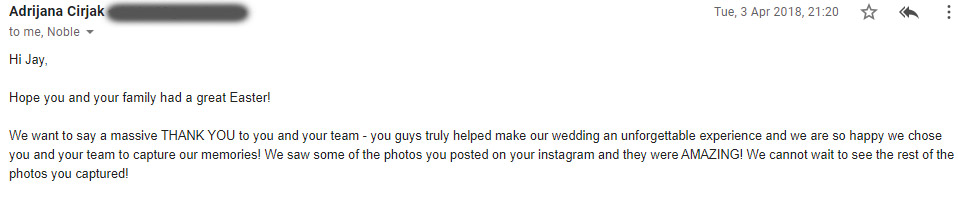 Wedding photographer review by Adrijana