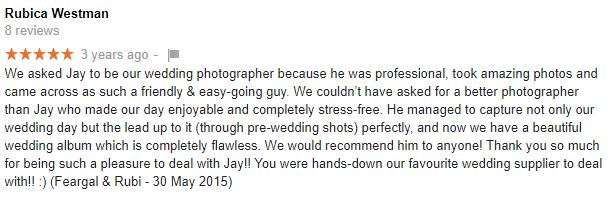 Wedding photographer review by Rubi